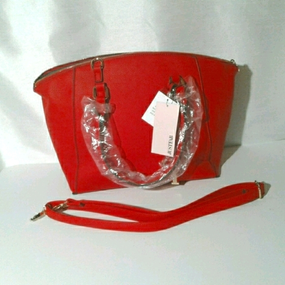 JUSTFAB Large Red Faux Leather Handbag NEW!